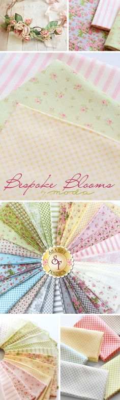 Bespoke Blooms - Moda Fabrics Feminine, delicate, and enchanting, the Bespoke Blooms fabric collection from Moda Fabrics is a classically beautiful line. This collection designed by Brenda Riddle features designs of scattered roses, blooming bouquets, gingham prints, and wide stripes. Shabby Fabrics offers Bespoke Blooms as yardage, in charm packs, mini charm packs, layer cakes, and jelly rolls.