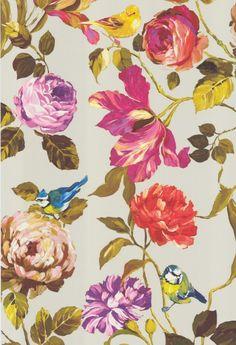 Tapete Kronos col.02 | FT92939-2 | Blumen Tapeten in den Farben gelbtöne-orange-pink-rot-lila-grün | Grundton beige 190€/10m