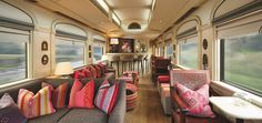 """A """"lavish hotel in motion"""" could be what best describes South America's first ever, luxury sleeper train, the Belmond Andean Explorer in Peru, which was designed by Inge Moore and Nathan Hitchins of London-based design firm, MUZA Lab. Decoration Restaurant, Restaurant Design, Trains, Restaurants, Modern Bar Stools, Train Journey, Tours, Luxury Accommodation, South America Travel"""