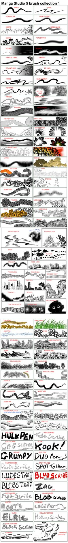 Manga Studio v5 Brushes and Actions - collection 1 by 888toto.deviantart.com on @deviantART