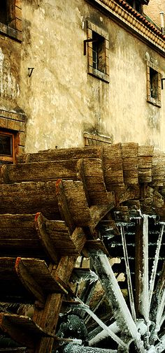 Old water wheel in the Mala Strana section of Prague