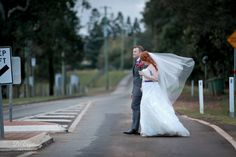 Bride & Groom Crossing the Road