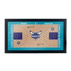 Trademark Global NBA Court Framed Graphic Art NBA Team: Charlotte Hornets