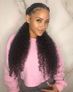 Love my hair! Hair is 2 bundles of Brazilian curly … Love my hair! Hair is 2 bundles of Brazilian curly in from Hair Us Baddie Hairstyles, Braided Hairstyles, Cool Hairstyles, Protective Hairstyles, Human Hair Lace Wigs, 100 Human Hair, Scene Hair, Invisible Ponytail, Wig Styling