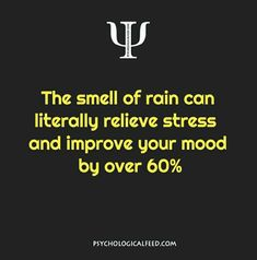 the smell of rain can literally relieve stress and improve your mood by over 60%.