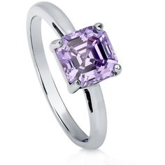 BERRICLE Sterling Silver Asscher Cut Purple CZ Solitaire Engagement... ($45) ❤ liked on Polyvore featuring jewelry, rings, purple, women's accessories, asscher cut engagement rings, wedding band rings, cz wedding rings, cz band ring and anniversary rings