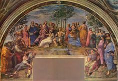"""The Stanza della segnatura (""""Room of the Signatura"""") was the first to be decorated by Raphael's frescoes. Description from tipter.com. I searched for this on bing.com/images"""