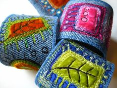 Jeans recycled into bracelets by Dog-Daisy Chains