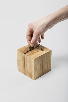Crack is a minimalist design created by France-based designer Sylvain Aebischer. Crack is a project about added value. From an old and cracked beam, all the exploitable pieces are selected,. All The Small Things, Money Box, Small Boxes, Wood Toys, Wood Projects, Woodworking Projects, Box Design, Minimalist Design, Wooden Boxes
