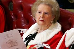 Lady Thatcher in the House of Lords awaiting the Queen's Speech during the State Opening of Parliament in November 2006