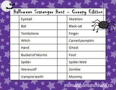 Halloween Scavenger Hunt - Creepy Edition (free printable game) #Halloween #ScavengerHunt