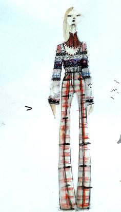 Amanda Henderson knits / illustration in mixed media / intarsia sweater, felt pant, leather neckpiece