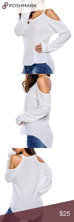 Gray Cold Shoulder Light Knit Sweater I love this combination of sexy and comfy casual.  For casual days and laid-back occasions, this tunic sweater offers a playful sexy look with an arched hem and cut-out details. With its relaxed, loose fit, the pullover sweater features long sleeves, a round neckline, and cut out shoulders that add a sexy touch!   It's perfect for pairing with skinny jeans or leggings. Pair with my Distressed Medium Wash Denim Jeans! Coming soon Available in Grey, Black…