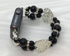 Silver Hearts and Black Glass Beads - Apple Watch Band Apple Watch Band Watch Bracelet, Ladies Wristlet, Ladies Watch Band Apple Watch Bands 42mm, Black Glass, Bracelet Watch, Glass Beads, Watches, Trending Outfits, Unique Jewelry, Bracelets, Handmade Gifts