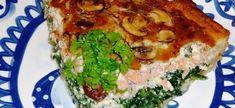 Quiche met spinazie, gerookte zalm en champignons
