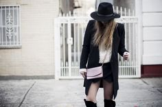 over the knee boots, thigh high boots, guess boots, zara skort, oversized knit, wide brimmed hat, chanel purse, pink chanel