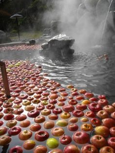 Many hot springs in Nagano will have floating apples during harvest season