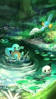 Oshawott, Mudkip and Squirtle in a river.