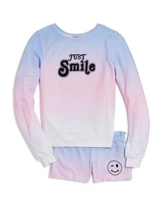 WILDFOX Girls' Just Smile Pullover & Shorts - Big Kid