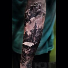 40 Log Cabin Tattoo Designs for Men Flat Ink Ideas Half Sleeve Tattoos For Guys, Cool Tattoos For Guys, Full Sleeve Tattoos, Leg Tattoos, Body Art Tattoos, Tattoos For Women, Tattoos Pics, Fake Tattoos, Tattoos Gallery