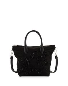 64866d3435fe Prada Small Nylon Beaded Tote Bag