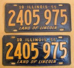 1955 Illinois Front / Back License Plates - 2405975