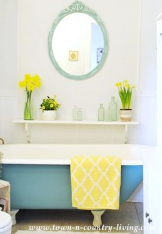 Painted Claw Foot Tub in Provence - Annie Sloan Chalk Paint