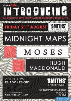 Absent Kelly's monthly residency welcomes Midnight Maps, Moses & Hugh Macdonald to 'SMITHS' Bar