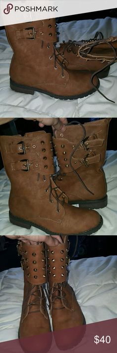 Brown Boots Military style boots with studs. Shoes are leathery material with gold studs/spikes. Worn once but we're too small for me so I got another pair. Size 6.5 Shoes