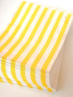 set of 75 - traditional sweet shop yellow candy stripe paper bags size combo pack - 25 each of three sizes
