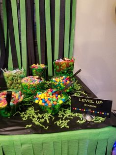 Treat Table Gaming Party Gamer Party Xbox Party Level Up Party Video Game Decor, Video Game Party, Party Games, Birthday Party Treats, Birthday Parties, Birthday Ideas, Golden Birthday, 12th Birthday, Party Table Decorations