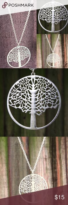 "Matte Silver Tree of Life Long Necklace Material- Alloy.  34"" Chain with 3"" adjustable length (total 37"" if worn at last link). Pendant 2"" diameter.  Cut out design. 🇱🇷 Memorial Day Weekend Sale 🇱🇷 offers welcome! Farah Jewelry Jewelry Necklaces"
