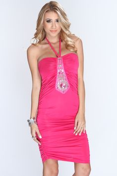 Youll sure make an appearance when people see you in this dress. Its perfect for standing out front the crowd. Its definitely a must have for your wardrobe. It features beaded beaded detailing, light padded, pleated top, adjustable halter tie, ruched sides, and fitted. 65% Cotton 35% Polyester.