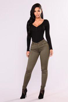 Farrah Skinny Jeans - Olive