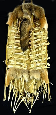 Apache Breast Plate with Leather, Beadwork, Fur and Bones