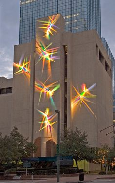 Artist Stephen Knapp creates his technicolor masterpieces with a remarkably ordinary, if impalpable, material: light, manipulated into radiant bursts with the help of glass and stainless steel. Light Architecture, Drawing Architecture, Architecture Portfolio, Architecture Design, Light Art Installation, Facade Lighting, Public Art, Public Spaces, Light Painting