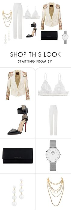 """""""lady suit"""" by carolinecorradine on Polyvore featuring Roberto Cavalli, Monki, Christian Louboutin, Amanda Wakeley, Givenchy, Daniel Wellington, Rebecca Minkoff, Charlotte Russe and outfit"""