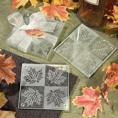 Autumn Leaf Glass Coasters Favor by Beau-coup