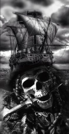 skull caravels tattoo black and grey - Tattoos Pirate Skull Tattoos, Pirate Ship Tattoos, Pirate Tattoo Sleeve, Ship Tattoo Sleeves, Sleeve Tattoos, Gun Tattoos, Tattoo Schwarz, Totenkopf Tattoos, Pirate Art