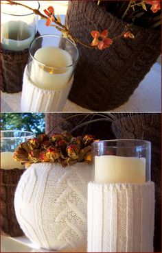 Another take on the cozy knit sweater decor.