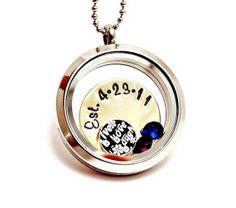 Family Charm Locket - Floating Charm Necklace - Living Locket - Memory Locket - Birthstones