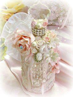 Image 3 of Regency Elegance Pink Beaded Apothecary Potion Bottle Glass Bottle Crafts, Diy Bottle, Bottle Art, Potion Bottle, Glass Bottles, Wine Bottles, Painted Bottles, Shabby Chic Crafts, Shabby Chic Decor