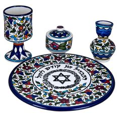Includes: * kiddush cup * candle holder * spice box with lid * plate This beautiful havdalah set will add a touch of beauty to your Saturday night table. As the Sabbath departs, a touch Armenian Christmas, Kiddush Cup, Christmas Accessories, Box With Lid, Star Of David, Ceramic Clay, Decorative Plates, Candle Holders, Hand Painted