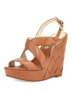 Bennet Leather Wedge Sandal, Luggage by MICHAEL Michael Kors at Neiman Marcus.