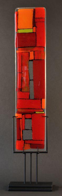 Windows Red: Meg Branzetti, Vicky Kokolski: Art Glass Sculpture - Artful Home Art Of Glass, Glass Artwork, Fused Glass Art, Stained Glass, Cut Glass, Red Art, Glass Design, Glass Panels, Colored Glass