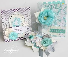 Wedding cards created by Sharon Laakkonen using Sizzix Bigz Die Classique-Swirl; Arbor Leaves, Ellise Tags and Sizzlits Bordeaux Border Scrapbook Paper Flowers, Arts And Crafts, Paper Crafts, Soft Colors, Wedding Cards, Decorative Boxes, Card Making, Crafty, Creative