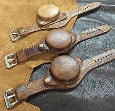 Size 24mm Distressed Leather Large Cover Watch Strap/Band WW2 Military Style#063