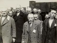 Auschwitz Birkenau, Poland, Jewish men standing in lines waiting for the selection for gas chamber or slave labor