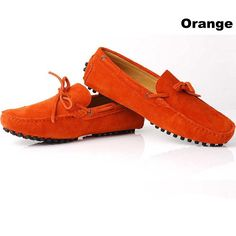 Orange Suede Driving Loafers