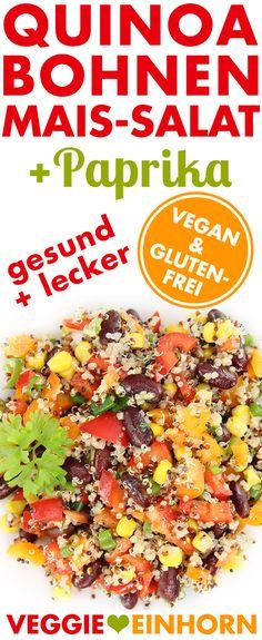 Salat mit QUINOA, KIDNEYBOHNEN & MAIS | Frische Paprika & Lauchzwiebeln | LECKER & GESUND | Einfaches veganes Rezept mit VIDEO